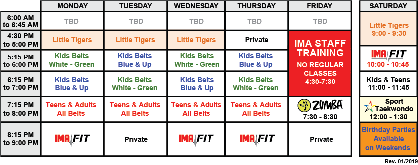 IMA-Belleville-Class-Schedule