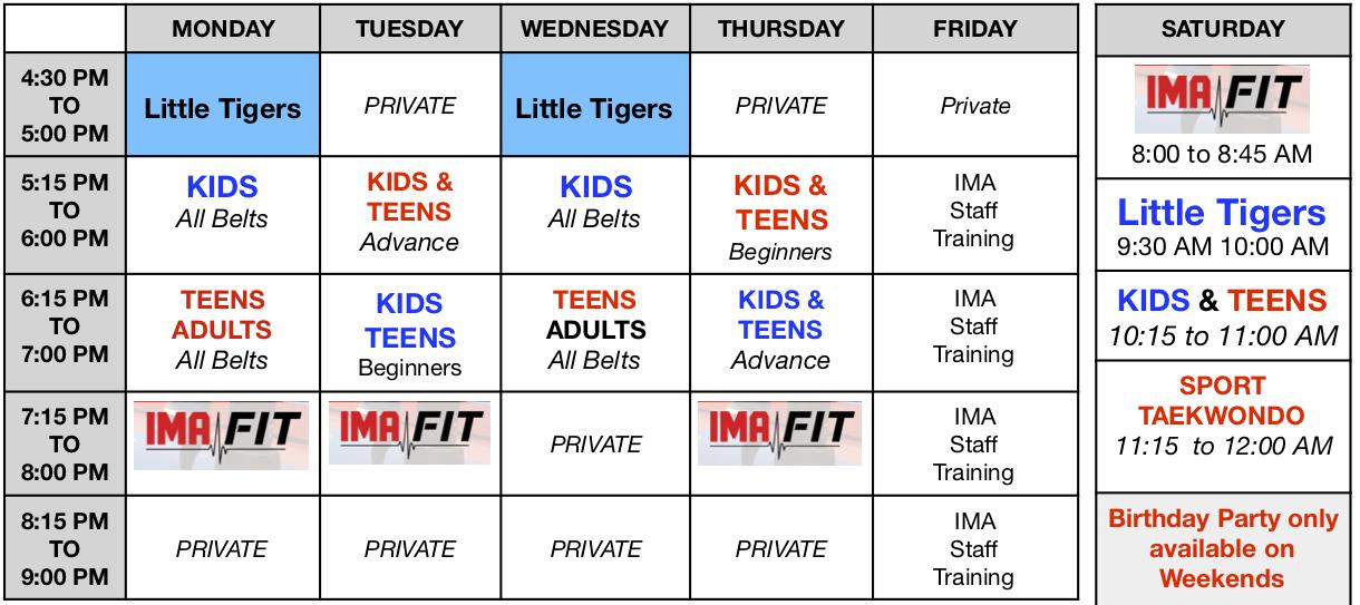 IMA-Carteret-Class-Schedule