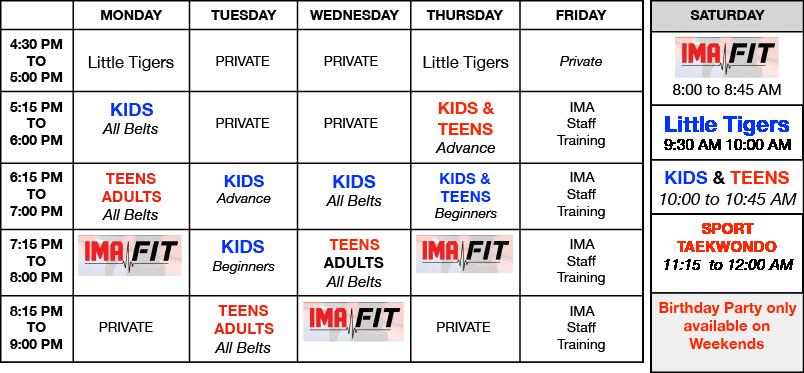 IMA-Randolph-Class-Schedule